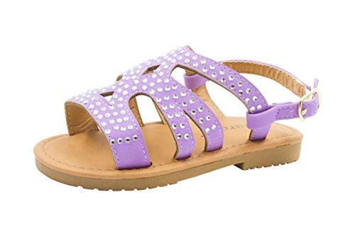 Sara Z Toddler Girl's Strappy Rhinestone Studded Flat Sandals 9/10 Purple ()