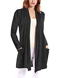 Womens Long Sleeve Draped Open Front Cardigan With Pockets