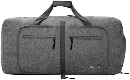 Duffel Bag 55L Packable Duffle Bag with Shoes Compartment Unisex Grey Travel Bag Water-Resistant Duffle Bag