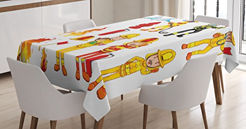 (Lunarable Fireman Tablecloth, Colorful Firefighters with Hoses and Fire Hydrant Public Servants Saving People, Dining Room Kitchen Rectangular Table Cover, 52 W X 70 L inches, Multicolor)