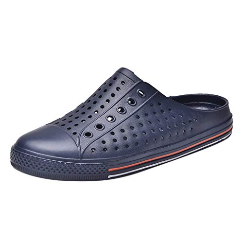 Creazrise Couple Summer Hole Flats Breathable Antiskid Light Slippers Beach Soft Bottom Shoes Dark Blue by Creazrise Mens (Image #1)