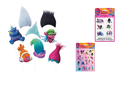 Trolls Photo Props ,Tattoos & Stickers Party Pack