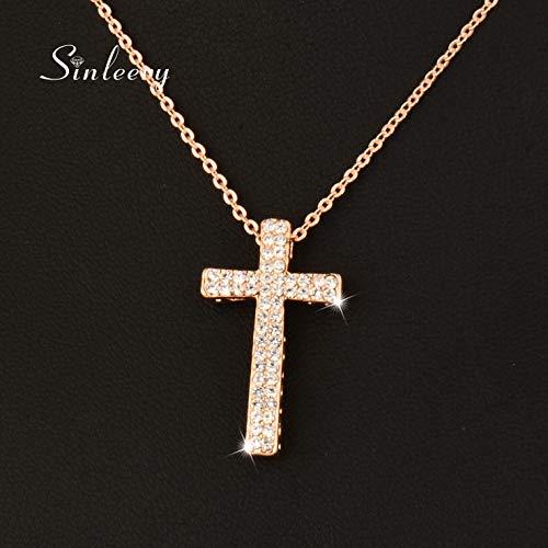 KassarinShop Fashion Brand Crystal Cross Pendant Necklace for Women 18K Rose Gold GP XL410