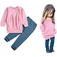 C&M Wodro Toddler Girls Clothes Winter Warm Long Sleeve Tops+Long Pants Set