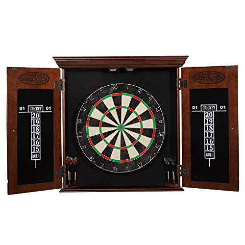 Barrington Chatham Bristle Dartboard Cabinet Set: Professional Hanging Classic Sisal Dartboard with...