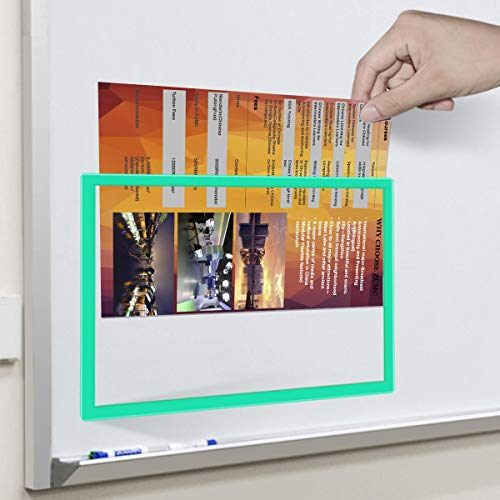 - 4 Pack Magnetic Sign Holder for Letter / A4 Size Paper, Document File Cases with Plastic Frame and Magnetic Back for Office School Whiteboard/Chalkboard/Steel Cabinet, Green
