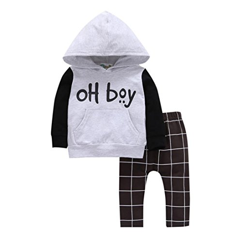 Hot Sale!!Baby Girl Boy Infant Toddler Fashion Hooded Tops+Pants Outfits Clothes Set...