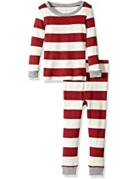 100% Organic Cotton 2-Piece Holiday Pajama Set, Cranberry Rugby Stripe, 18 Months