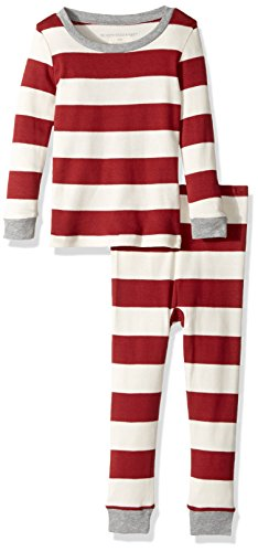 Burt's Bees Baby Infant 100% Organic Cotton 2-Piece Holiday Pajama Set, Cranberry Rugby Stripe, 18 Months