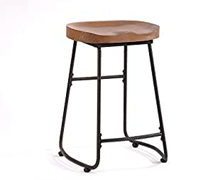 contoured saddle seat 24inch backless bar stool chair for home kitchen island or counter ou0026k furniture wooden barstool with metal leg