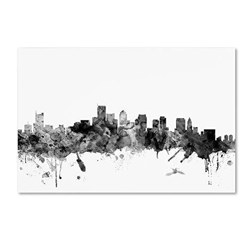 Boston Wall Usa (Trademark Fine Art Boston MA Skyline B&W by Michael Tompsett, 16x24-Inch Canvas Wall Art)