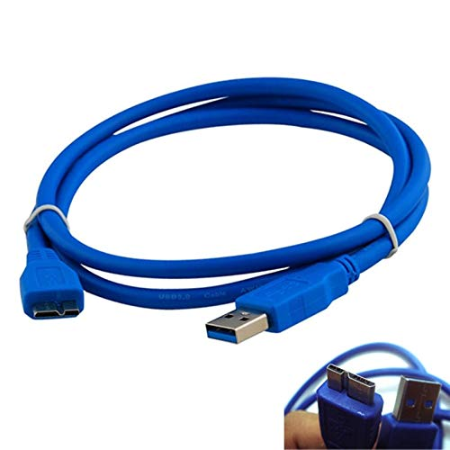 Price comparison product image Gimax Superior Electrical Connectors For WD Western Digital My Book Essential Mini USB 3.0 A - Micro B Cable 10 FEET 10FT AA - (Color: Blue)