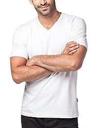 Men's 2-Pack Short Sleeve T Shirts Tag-Free V Neck Cotton Stretch Undershirts M06