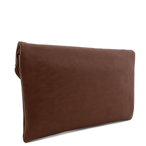 Strap Brown Large Clutch Light with Bag Envelope Chain 0aqxXr0w