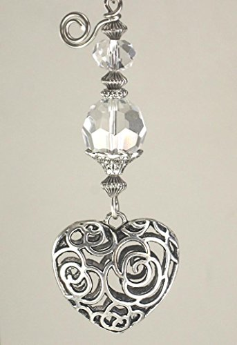 Wide Puffed Heart - Silvery Puffed Scrollwork Heart and Crystal Clear Glass Light or Ceiling Fan Pull