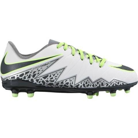 Nike Kids Jr Hypervenom Phelon II Fg Soccer Cleat, 5 Big Kid M, Pure Platinum, Black, Ghost Green
