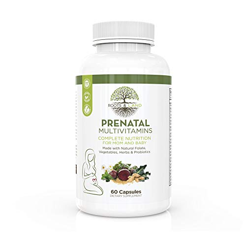 Roots and Land All in One Prenatal Multivitamins - Natural Folate - Made with Organic Vegetable and Herbal Blend- Probiotics and Digestive Enzymes - Vegetarian -60 Capsules