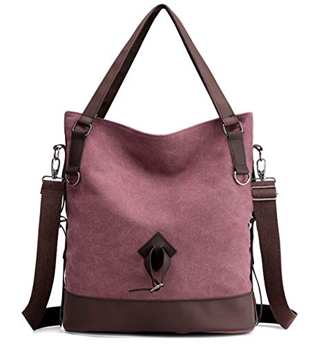 - Tom Clovers Canvas Crossbody Messenger Tote Weekender Fashion Bag (Purple A)