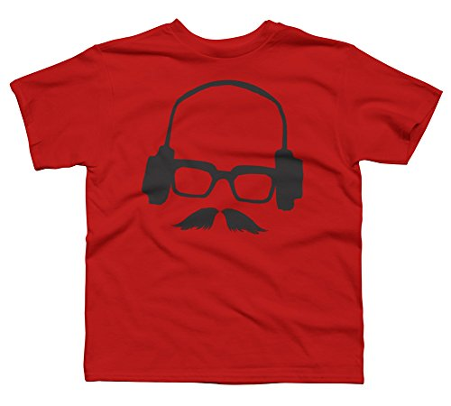Hipster Mustache Glasses Face with Boy's X-Small Red Youth Graphic T - Glasses Hippster