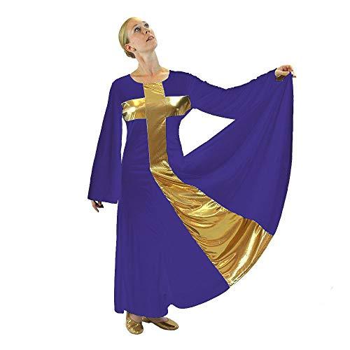 Danzcue Womens Praise Cross Long Dress, Deep Purple-Gold, M ()