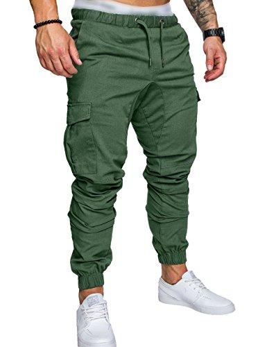 Pantalone Somthron Forti Lavoro Lungo Pantaloncini Jogging Sportivo Verde Activewear Pantaloni Elastica Da Sportivi In Cintura Taglie Uomo Cotone Con 7xqwn6p7Pr