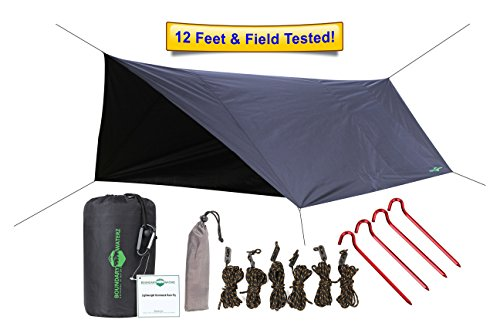 Premium 12' Hammock Rain Fly, Sun Fly & Tent Shelter By Boundary Waterz - Waterproof & Sturdy Construction - Lightweight & Easy To Set Up - Ideal For Camping - Great Gift For Him or Her!