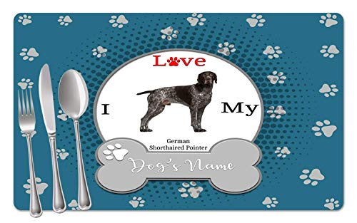 (BRGiftShop Personalized Custom Name I Love My Dog German Shorthaired Pointer Set of 4 Table Placemats)