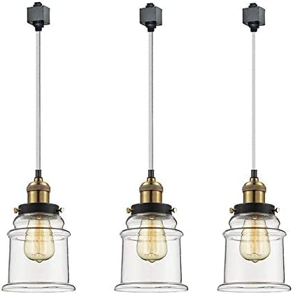 Kiven Set of 3 H System Track Lighting Pendants,Clear Glass Shade Fitting Track Light Kit, Bulb Included