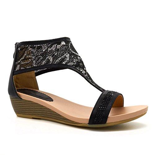 Nuevo para mujer Low Mid Wedge Heel zapatos de verano sandalias señoras Tamaño Grande Tamaño UK 8–