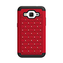 CP 2-In-1 Hard Hybrid Silicone Case with Diamond Stud for Samsung Galaxy Core Prime/G360 - Non-Retail Packaging - Red/Black