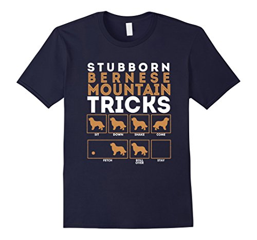 Men's Stubborn Bernese Mountain Dog Training Tricks T-Shirt Tee 2XL Navy