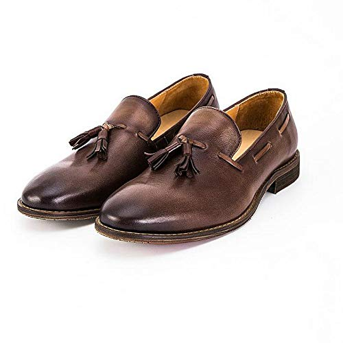 EU nappe a vera in mocassini Size Brass per in uomo pelle Mocassini Color in Brown vintage con pelle pelle 43 fatti mano design XZP zw7Bxt0n