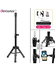 Tripod Stand for Canvas Block Head Adjustable Wig Head Stand Holder for Cosmetology Hairdressing Training Practice Wig Display Styling Metal Mannequin Wig Head Stands with Smartphone Clamp Mount