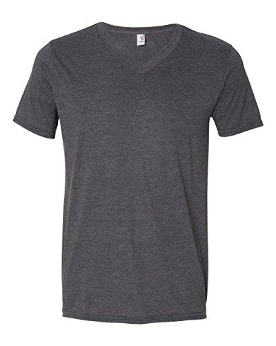 Anvil Triblend V-Neck T-Shirt. 6752 Medium Heather Grey