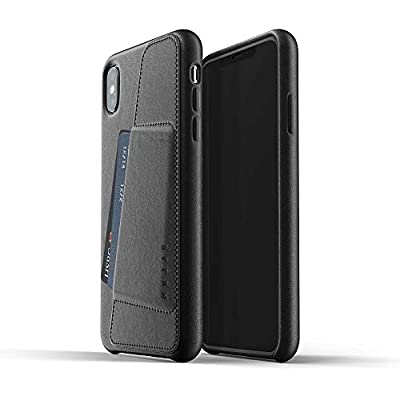 Mujjo Full Leather Wallet Case for iPhone Max Premium Genuine Leather  Natural Aging Effect Pocket for 2-3 Cards  Wireless Charging  Black