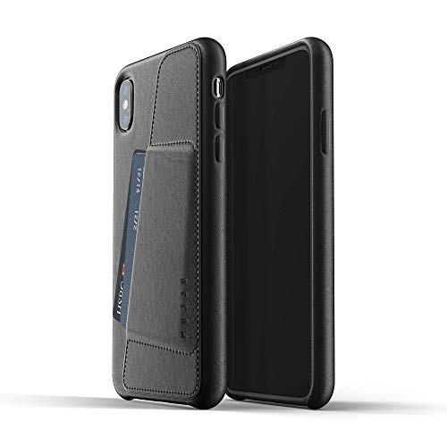 Mujjo Full Leather Wallet Case for iPhone Xs Max | Natural Aging Effect, 2-3 Card Pocket, 1MM Protective Screen Bezel, Japanese Suede Lining (Black) (Mujjo Case Leather Wallet Iphone)