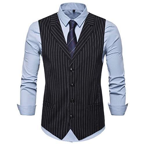 Fitfulvan Men's Single-Breasted Slim Fit Business Classic Stripe Suits Vest Premium Polyester Blend Waistcoat Coat Black