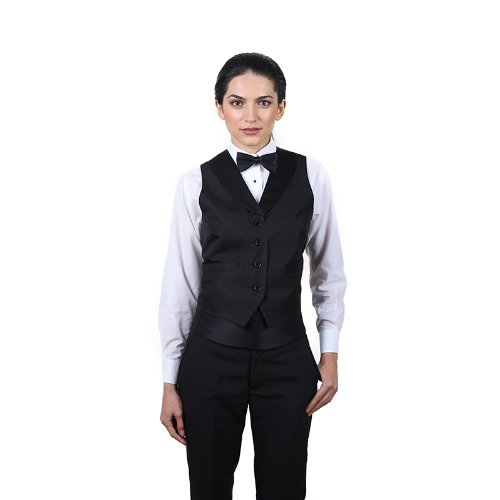 Black Full Back Tuxedo Vest - Women's Black Full Back Tuxedo Vest with Black Lapel Extra Small