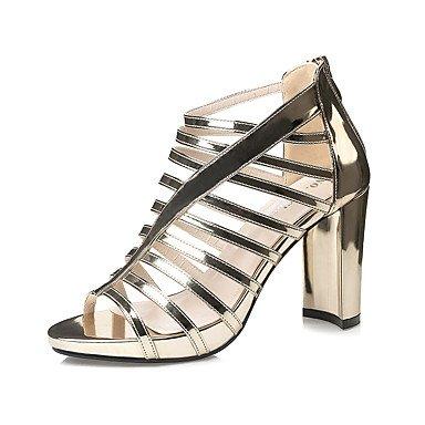 Leather Sandals Primavera Estate Gladiator Dress grosso Zipper donna tacco YCMDM , gold , us6 / eu36 / uk4 / cn36