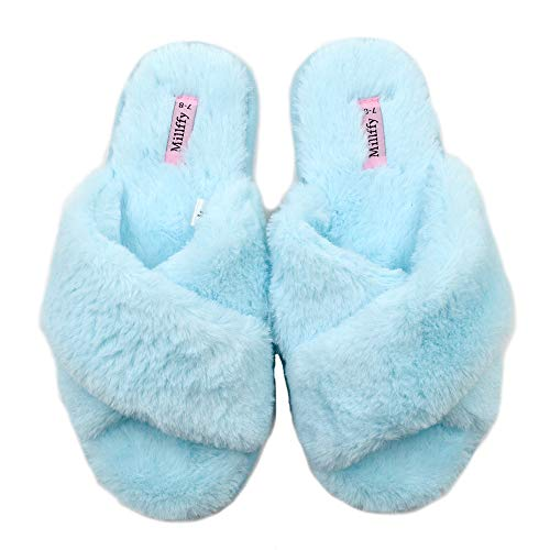 Millffy Spring Summer Women's Indoor Shoes Fashion Flax Home Lucy Refers to flip Flops Fur Slippers (5-6 M US, Cross Light Blue)