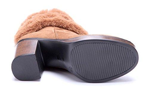 Schuhtempel24 Damen Schuhe Klassische Stiefeletten Stiefel Boots Blockabsatz Schnalle 9 cm Camel