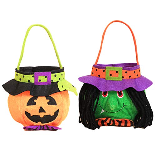 Halloween Pumpkin Witch Trick or Treat Candy Bag for Boys or Girls Halloween Costume Party Kids Pumpkin Tote 2pcs