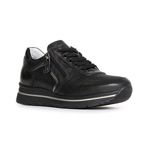 Chaussures Noir Giardini Sneaker Femme Cuir Paillettes Noir A719481d100