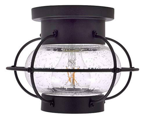 - SYLVANIA 75515 Essex Cage Light, LED, Semi-Flush Mount, Dimmable Bulb Included Vintage Fixture, Antique Black