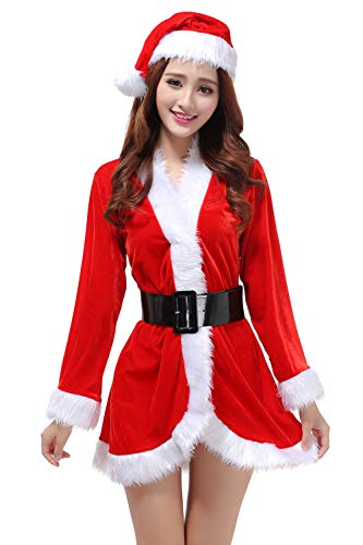 (G Lake Women Christmas Cloak Mrs Santa Cape Xmas Red Velvet Cappa Hooded Robe Cosplay Costume (One)