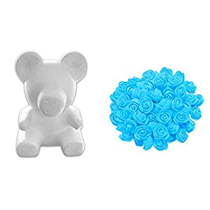 zzJiaCzs 13.7/15.7 Inch Foam Rose Bear-Artificial Rose Modeling, Love Corlorful Rose DIY Craft,Anniversary,Valentines Holiday Window Party Display Decor ... 45