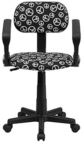 Flash Furniture Peace Sign Printed Swivel Task Chair with Arms