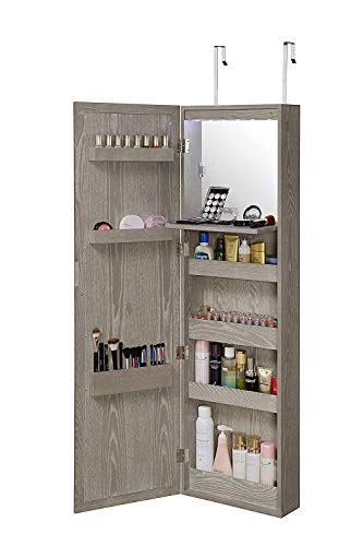 Abington Lane Wall Mounted Over The Door Makeup Organizer Beauty Armoire with -