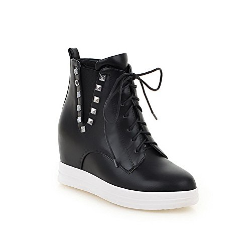AmoonyFashion Black Women's High Low Boots Solid top Round Microfiber Heels Toe Closed rr1nfpq