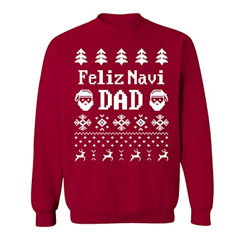 GOOD SHOPPERS ACTIVEWEAR Funny Christmas Feliz Navi DAD Costume Sweatshirts for Women and Men Unisex Sweaters(Cardinal -